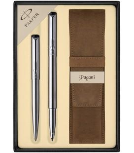 Zestaw Parker Vector Stalowy CT pióro kulkowe i długopis z etui Pagani