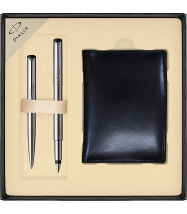 Zestaw Parker Vector Stalowy pióro i długopis z portfelem