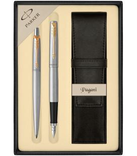 Zestaw Parker Jotter Stalowy CT Pióro Długopis z Etui Czarnym