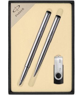 Zestaw Parker Vector Stalowy długopis i roller oraz pendrive USB GoodRam