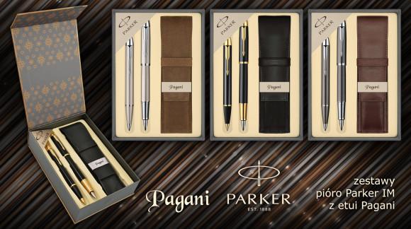Zestaw Parker IM pióro + długopis ze skórzanym etui Pagani